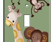Jungle Babies Zoo Animals Single Toggle Metal  Light Switchplate