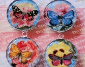 SUMMER SALE - Flowers and  Butterflies 4 Piece Handmade Round Circle Cameo Charms Pendants
