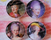 Portraits of Marie Antoinette 4 Piece Epoxy Sealed Finish Round Circle Cameo Charms Pendants