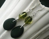 Stones and Moss....Beach stone earrings
