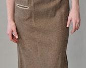 RESERVED brown wool penci skirt / vintage 50s brown wool skirt / pocket detail, high waist XS