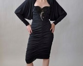 black avant garde party dress / vintage 80s ruched dress / beading, bat sleeves S/M