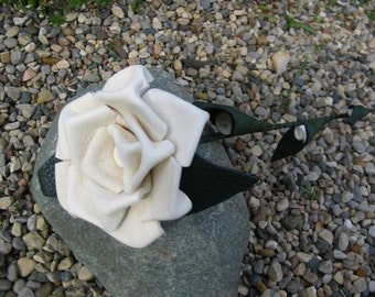 White leather rose