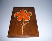 70s Retro- Wood-Orange-Hippie-Boho-Mod Flower