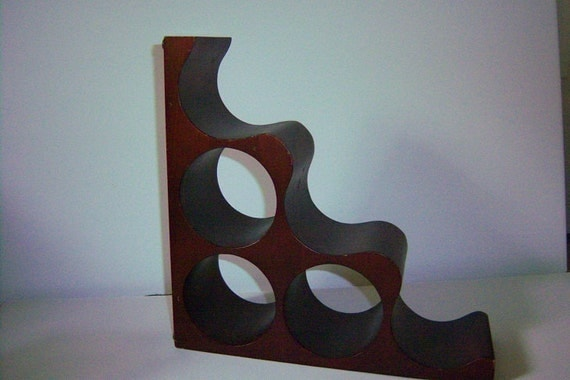 SALE-Vintage Bookend 6 Bottled- Wine-Rack-Napa-Rich Dark Finish-Wood Wine Rack
