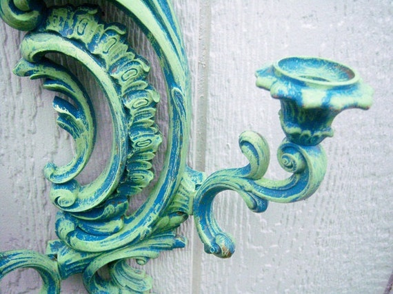 Syroco Teal-Lime Green-Double Wall Candelabra