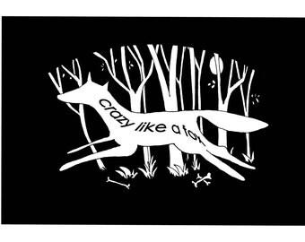 Black and White Fox Illustration print, digital Illustration, Animal print