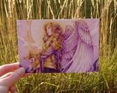 """4x6 Postcard Fantasy Art Illustration """"Golden Warrior"""""""