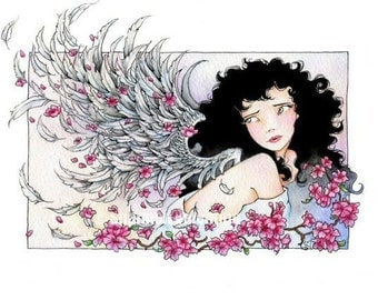 """Fantasy Angel Art 8x10 MATTED Print """"Looking Back"""""""