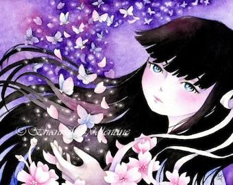 "Fantasy Anime Art Print ""Set Me Free"" 3 Paper Sizes"