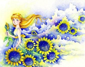 """5x7 Fantasy Art Print Sunflower Girl """"Yellow"""""""