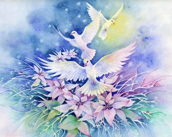 "Doves and Poinsettias 5x7 Art Print ""Peaceful Night"""
