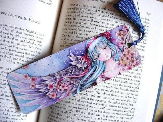 "Fantasy Anime Angel Bookmark ""Gentle Heart"" 2x6"