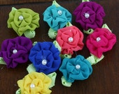 "small 1"" fabric flowers - Trixie Collection - Bright 557201 - Tiny sheer fabric flowers with a pearl center - 9 colors as shown in photo"