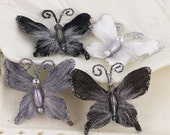 fabric butterfly - Mariposa Collection - Ash 556754 - magnificent fabric butterflies with glitter accents - grey, white, black