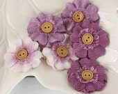 "1.5"" fabric flowers - Primmers Collection - Heather 558376 - Natural  fabric flowers with cute button centers"