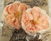 Parfait Collection - Peche 547202 - Sheer silk fabric flowers with stamen  - orange peach
