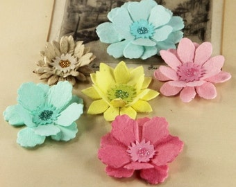Paper Flowers - Dollhouse Collection Classic - Mulberry Paper Flowers with glitter centers  548193