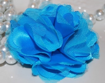 Turquoise Blue  - 3''  layered Satin and tulle mesh silk fabric flower  - choose flat back or with hair clip - brooch pin