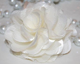 Ivory Cream - 3'' Satin mesh silk fabric flower   bridal wedding