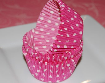 100 count - pink polka dot cupcake liners  baking cups  muffin cups  grease proof  standard size cup cake