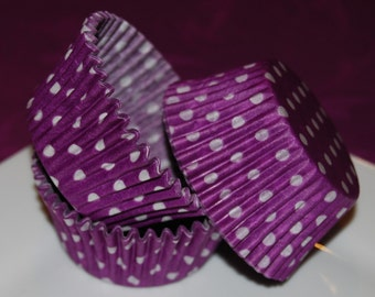 50 count - purple polka dot cup cake liners  baking cups  muffin cups  standard size  grease proof  cup cake