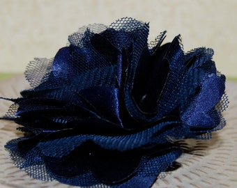 Navy Dark Blue  - 3'' Satin mesh silk fabric flower -  with brooch clip and hair clips