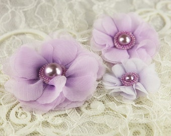 Millinery Collection - Dora 547325-  2 Sheer Fabric Flowers with beaded pearl centers - sheer shades of purple - flat  back
