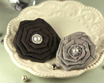 2 Fabric Flowers Coiled Pearls  Victoria 552428 -  Black and  taupe  -brownish gray color