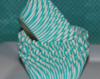 Cupcake liners 50 count - Aqua Green  stripe cupcake liners baking cups muffin cups cup cake grease proof standard size