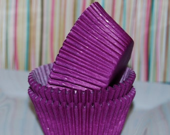 cupcake liners (50) count - purple solid cup cake liners  baking cups  muffin cups  standard size  grease proof