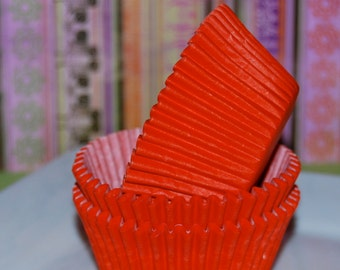 cupcake liners (50) count - Orange solid cup cake liners, baking cups, muffin cups,  standard size, grease proof