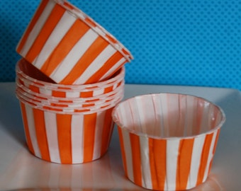 Orange Stripe Candy Cups  Nut cups  Baking cupcake liners muffin cups  Ice cream  treat  dessert  small cups - (24) count