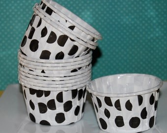 white with black polka dots -  Candy Cups Nut  treat portion wedding Baking cupcake liners  muffin cups  Ice cream  dessert  cups - 24 count