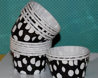 Black with White polka dots - Grease Proof  Baking Cupcake  muffin cups - Candy Nut Treat   Portion Cups Ice cream dessert cups - 50 count