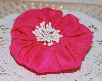 "3""  Raspberry Magenta Pink Fabric Flower - Ayshia - Chiffon soft fabirc flowers with creamy white pod centers with brooch pin & hair clip"