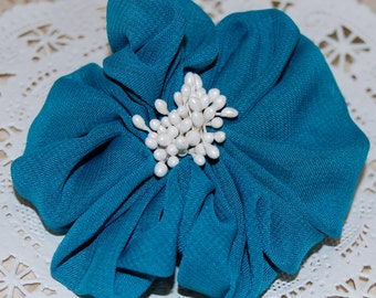"3""  Teal Blue Fabric Flower - Ayshia - Chiffon soft fabirc flowers with creamy white pod centers with brooch pin & hair clip"