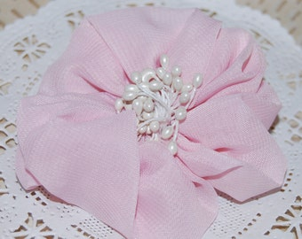 "3""  Light Pink Fabric Flower - Ayshia - Chiffon soft fabirc flowers with creamy white pod centers with brooch pin & hair clip"