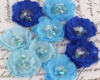 "Small 1"" fabric flowers -Tasha Collection - Jewel 556945 - layered fabric  with sparkle of sequin & beads  in the centers - shades of blue"