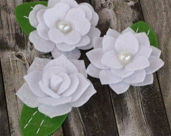 fabric flowers - Hermosa  Collection -White 558017 - layered felt flowers - for card making, jewelry,  journal, album accents - white