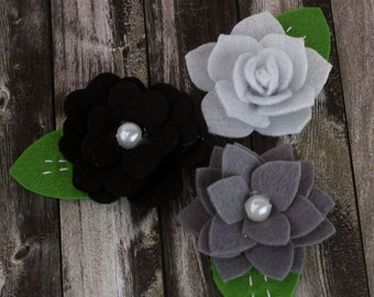 fabric flowers - Hermosa  Collection -Grey 557980- layered felt flowers - for card making, jewelry,  journal, album accents - Grey