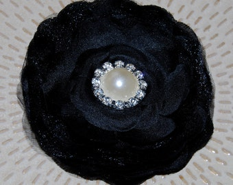 Black  3 1/2'' camellia fabric  flower  wedding silk flowers with pearl and diamond rhinestone center - flat back