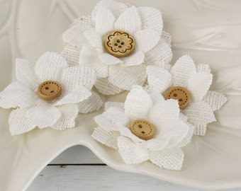 "2"" fabric flowers - Primmers Collection - Bleached White 558352 - Natural layered  fabric flowers with cute button centers"