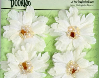 """fabric flowers - Beaded Peonies - cream 1297-101  -  2"""" Layered fabric flowers with beaded centers - 4 pieces per pack"""