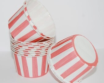 PINK  Stripe  Baking cupcake liners  grease proof muffin cups  Candy cup nut Ice cream treat dessert portion  cups - (24) count