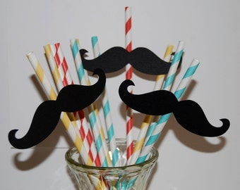 100 Mustache Cut Outs - Photo Booth Props -  Party Decorations - Garland - Cake Toppers -  party straws - wedding shower parties