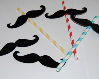 12 Mustache Cut Outs - Photo Booth Props -  Party Decorations - Garland - Cake Toppers -  party straws - wedding shower parties