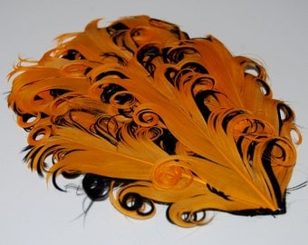 Curly Feather Pad - Two Tone Orange on Black  FP140 - (1 piece)