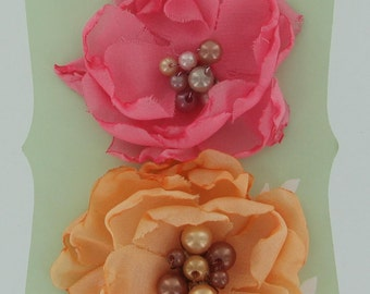 Elle Collection 921347 -  Layered fabric flowers with beaded embellishment centers  -  pink and peach  light orange