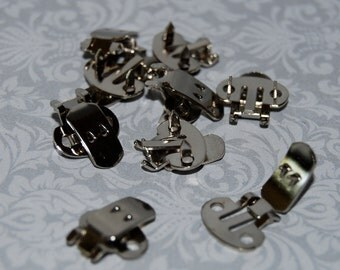 Shoe Clips blanks - silver shoe clip - Qty 24 -  findings supply 20mm strong high quality shoe clip blanks  supplies